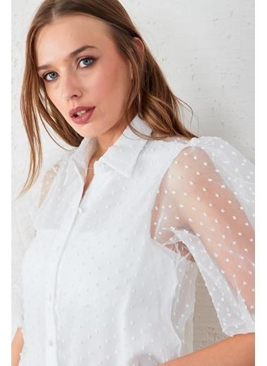 EKA Balon Kol Tül Gömlek Beyaz